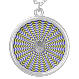 Blue and Yellow Zigzag Ripples Necklace + cat