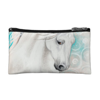 Blue Andalusian Horses Makeup Bag