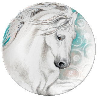 Blue Andalusian Horses Plate