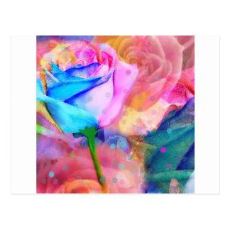 Blue ang pink roses postcard