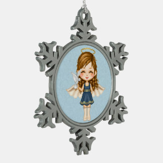 Blue Angel Pixel Art Pewter Snowflake Decoration