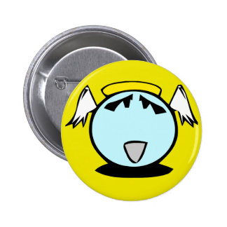 blue angel smiley with wings 6 cm round badge