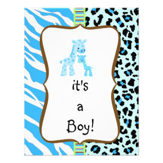 Blue animal print baby shower invitation