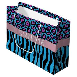Blue Animal Print Diamond Sweet 16 Gift Bag L