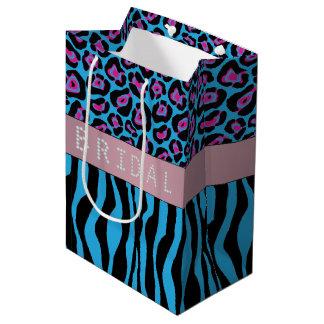 Blue Animal Prints Diamond Bridal Shower Medium Gift Bag