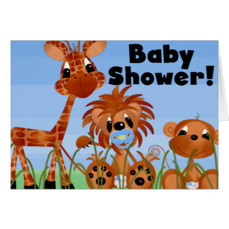 Blue Animals Baby Shower Cards and Postcards