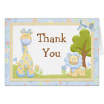 Blue Animals Baby Shower Thank You