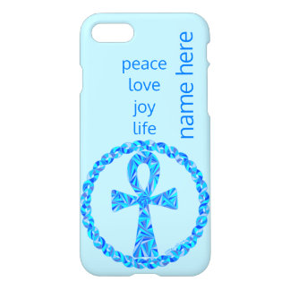 Blue Ankh Ancient Egypt iphone7 Add Your Name iPhone 7 Case
