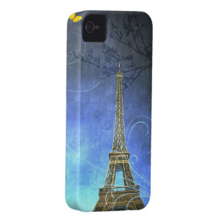Blue Antique Eiffel Tower iPhone Case iPhone 4 Covers