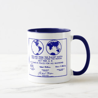 "Blue ""APOLLO PLAQUE/MISSION PLAN"" Coffee Mug"