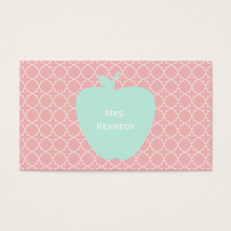 Blue Apple Coral Quatrefoil Teacher Business Card