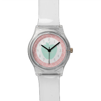 Blue Apple Coral Quatrefoil Teacher Watch