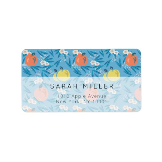Blue Apple Floral Pattern Teacher Address Label