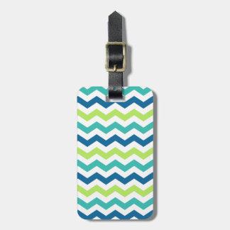 Blue Aqua and Lime Multi Chevron Stripes Luggage Tag