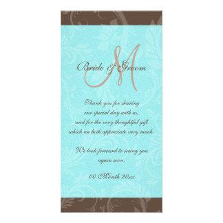 Blue aqua brown gem bow floral photo greeting card