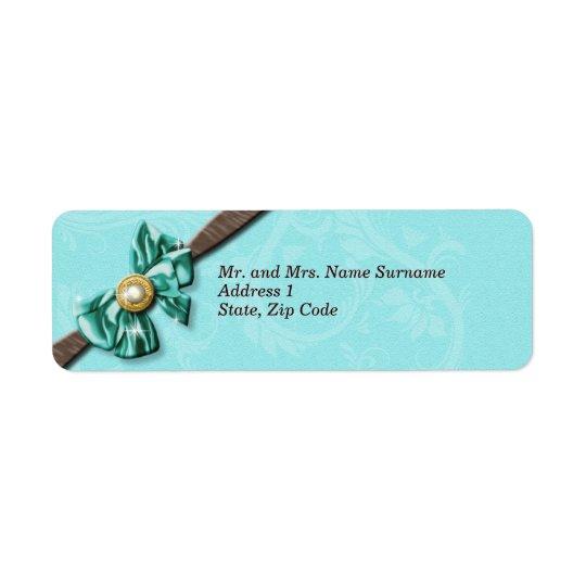 Blue aqua brown gem bow floral return address label