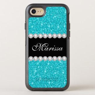 Blue Aqua Glitter Beautiful Black OtterBox Symmetry iPhone 8/7 Case
