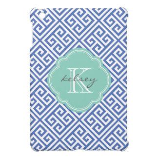 Blue & Aqua Greek Key Custom Monogram Cover For The iPad Mini