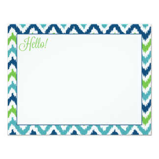 Blue Aqua Green Zigzag Ikat Pattern Card