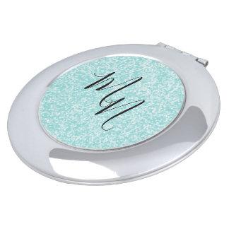 Blue-Aqua-Initial-Fun-Monogram-Round Makeup Mirror