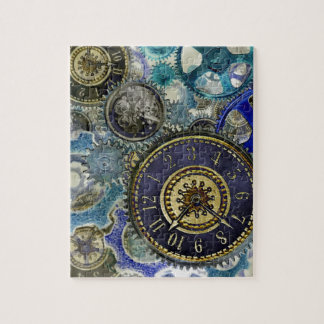 Blue aqua steampunk gears, cogs, clock faces print jigsaw puzzle