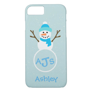 Blue Aqua White Monogram Snowman Case