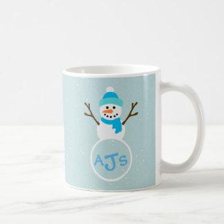 Blue Aqua White Monogram Snowman Coffee Mug
