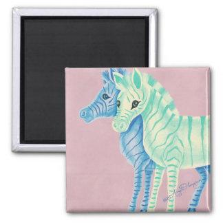 Blue & Aqua Zebras Magnet