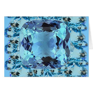 BLUE AQUAMARINES FACETED GEMS  ART CARD