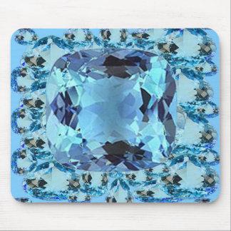 BLUE AQUAMARINES FACETED GEMS  ART MOUSE PAD