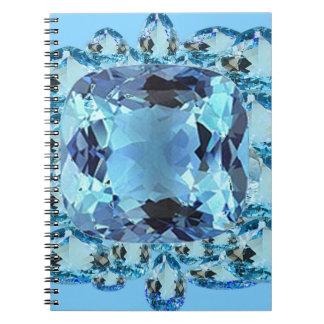 BLUE AQUAMARINES FACETED GEMS  ART SPIRAL NOTEBOOK