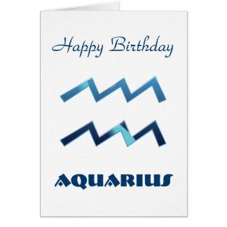 Blue Aquarius Zodiac Sign Birthday Card