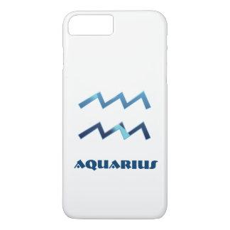 Blue Aquarius Zodiac Sign On White iPhone 7 Plus Case