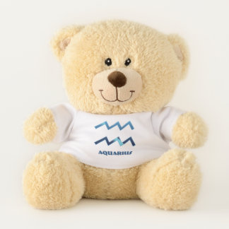 Blue Aquarius Zodiac Sign On White Teddy Bear