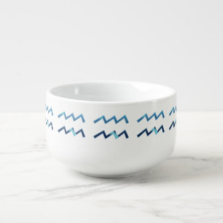 Blue Aquarius Zodiac Signs On White Soup Mug