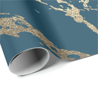Blue Aquatic Foxier Gold Marble Shiny Glam Wrapping Paper