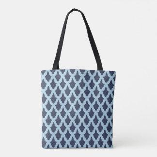 Blue Arabesque Print Tote Bag