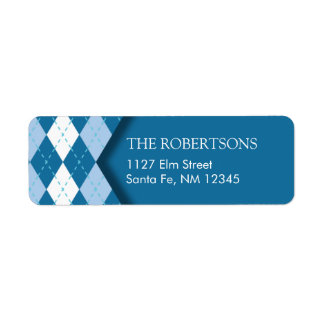 Blue Argyle Address Label