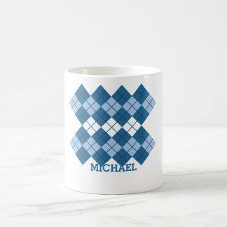 Blue Argyle Design Mug