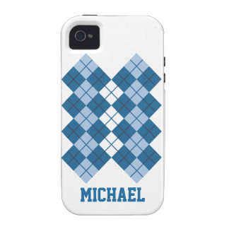 Blue Argyle Design Vibe iPhone 4 Cover