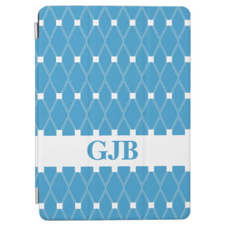 Blue Argyle Lattice with monogram iPad Air Cover