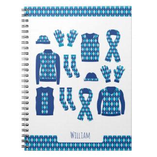 Blue Argyle Pattern Items Photo Notebook