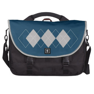 blue argyle pattern laptop computer bag