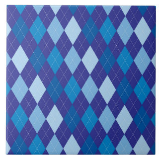 Blue argyle pattern large square tile