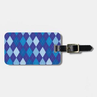 Blue argyle pattern luggage tag
