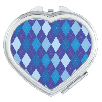 Blue argyle pattern mirrors for makeup