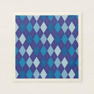 Blue argyle pattern paper napkin