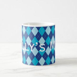 Blue Argyle Pattern Personnalised Coffee Mug
