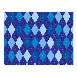 Blue argyle pattern postcard