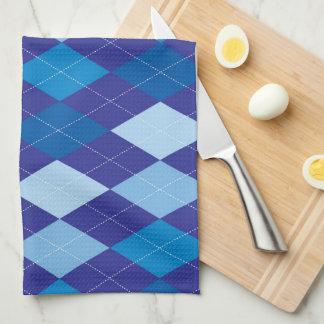 Blue argyle pattern towel